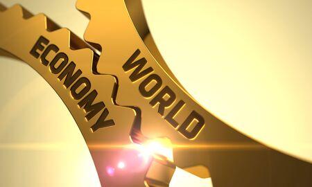 labor relations: Econom�a Mundial sobre el mecanismo de ruedas dentadas de oro con efecto de resplandor. Econom�a Mundial sobre el Mecanismo de engranajes de oro con destello de lente. Ruedas dentadas de oro econom�a mundial. 3D.