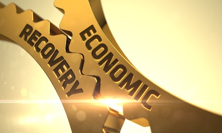 economic recovery: Economic Recovery - Concept. Golden Gears with Economic Recovery Concept. Economic Recovery on Mechanism of Golden Cogwheels with Lens Flare. 3D Render.
