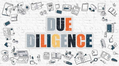 financial condition: Due Diligence - Multicolor Concept with Doodle Icons Around on White Brick Wall Background. Modern Illustration with Elements of Doodle Design Style. Stock Photo