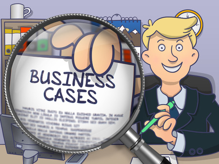 justification: Business Cases on Paper in Mans Hand to Illustrate a Business Concept. Closeup View through Magnifying Glass. Multicolor Doodle Illustration.