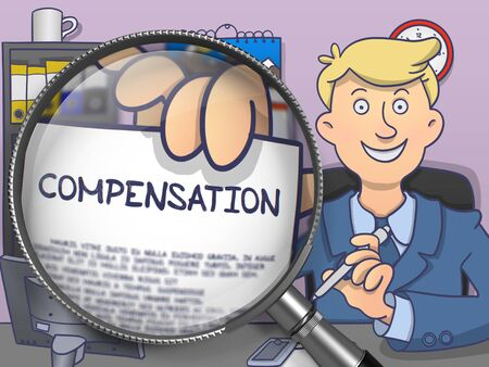 Compensation. Man Sitting in Office and Showing through Magnifying Glass Paper with Text. Colored Doodle Style Illustration. Stock Photo