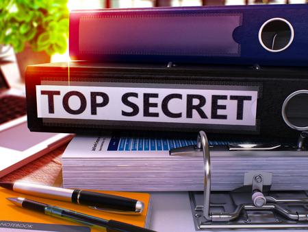 Top Secret - Black Ring Binder on Office Desktop with Office Supplies and Modern Laptop. Top Secret Business Concept on Blurred Background. Top Secret - Toned Illustration. 3D Render.