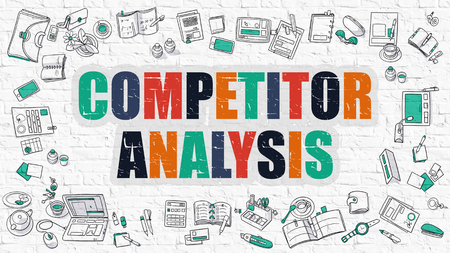 competitor: Competitor Analysis - Multicolor Concept with Doodle Icons Around on White Brick Wall Background. Modern Illustration with Elements of Doodle Design Style. Stock Photo
