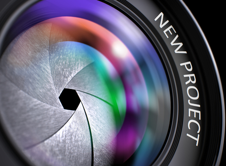 onset: New Project - Concept on Lens of Camera with Colored Lens Reflection, Closeup. Closeup Photographic Lens with Colored Reflection and Inscription New Project. 3D Render. Stock Photo