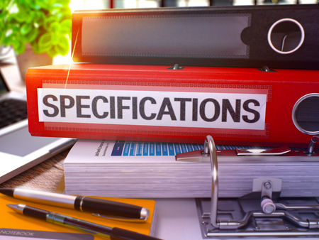 specifications: Red Office Folder with Inscription Specifications on Office Desktop with Office Supplies and Modern Laptop. Specifications Business Concept on Blurred Background. Specifications - Toned Image. 3D. Stock Photo