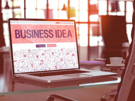 idea comfortable: Business Idea Concept. Closeup Landing Page on Laptop Screen in Doodle Design Style. On Background of Comfortable Working Place in Modern Office. Blurred, Toned Image. 3D Render.