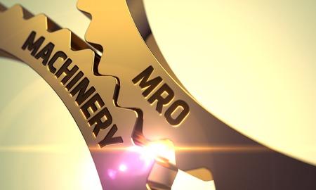 enginery: MRO Machinery on the Mechanism of Golden Metallic Cogwheels with Glow Effect. MRO Machinery - Illustration with Glow Effect and Lens Flare. MRO Machinery - Technical Design. 3D.
