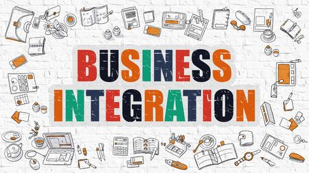 unification: Multicolor Concept - Business Integration - on White Brick Wall with Doodle Icons Around. Modern Illustration with Doodle Design Style. Stock Photo