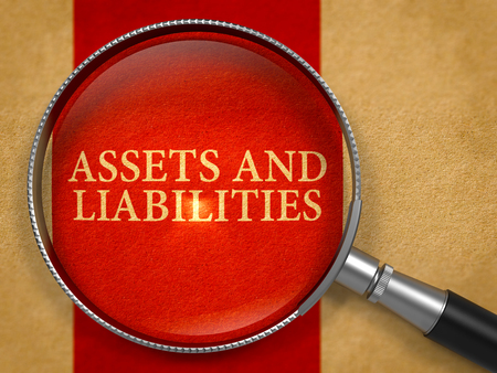 liabilities: Assets and Liabilities through Magnifying Glass on Old Paper with Crimson Vertical Line Background. 3D Render.