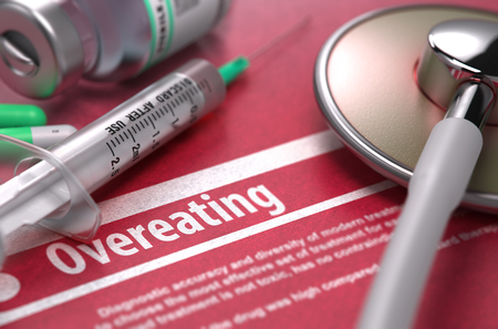 surfeit: Overeating - Printed Diagnosis with Blurred Text on Red Background and Medical Composition - Stethoscope, Pills and Syringe. Medical Concept. 3D Render.