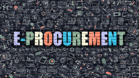 pm: E-Procurement Concept. Modern Illustration. Multicolor E-Procurement Drawn on Dark Brick Wall. Doodle Icons. Doodle Style of E-Procurement Concept. E-Procurement on Wall. Stock Photo