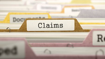 claims: Claims - Folder Register Name in Directory. Colored, Blurred Image. Closeup View. 3D Render. Stock Photo