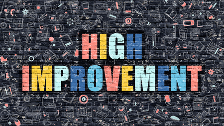 implement: High Improvement. Multicolor Inscription on Dark Brick Wall with Doodle Icons. High Improvement Concept in Modern Style. Doodle Design Icons. High Improvement on Dark Brickwall Background. Stock Photo