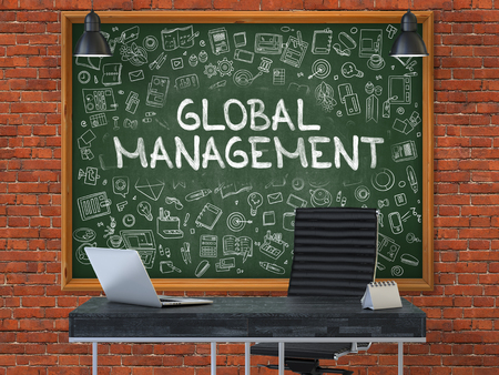transnational: Global Management - Hand Drawn on Green Chalkboard in Modern Office Workplace. Illustration with Doodle Design Elements. 3D.
