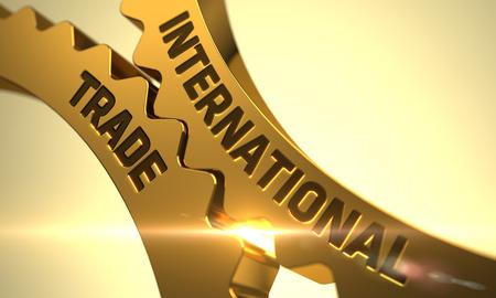 Internationale handel in het mechanisme van gouden metalen tandwielen met lensflare. Internationale handel in de Golden Gears. Internationale handel Gouden metalen tandwielen. 3D Render.