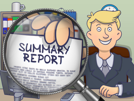 documented: Businessman in Suit Holding Paper with text Summary Report through Lens. Closeup View. Colored Doodle Style Illustration.