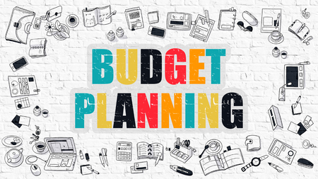 marginal: Budget Planning - Multicolor Concept with Doodle Icons Around on White Brick Wall Background. Modern Illustration with Elements of Doodle Design Style.