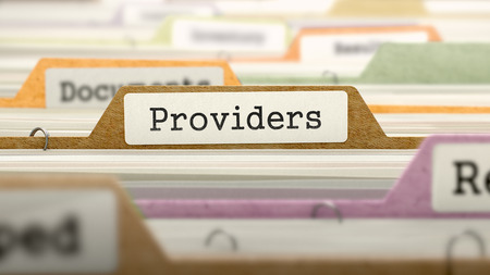 providers: Folder in Colored Catalog Marked as Providers Closeup View. Selective Focus. 3D Render. Stock Photo