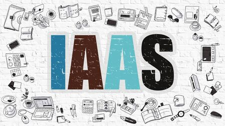 saas: IAAS -  Infrastructure as a Service. Multicolor Inscription on White Brick Wall with Doodle Icons Around. Modern Style Illustration with Doodle Design Icons. IAAS on White Brickwall Background.