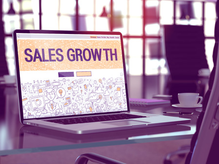 sales growth: Sales Growth - Closeup Landing Page in Doodle Design Style on Laptop Screen. On Background of Comfortable Working Place in Modern Office. Toned, Blurred Image. 3D Render.