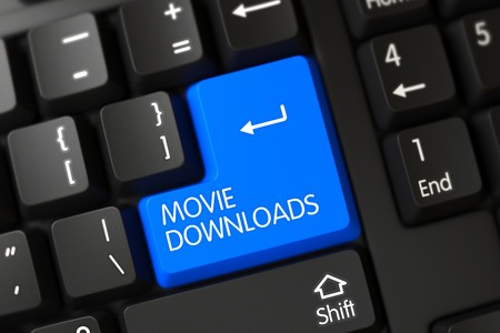 retain: Movie Downloads Keypad on PC Keyboard. Modern Laptop Keyboard with Hot Keypad for Movie Downloads. Concepts of Movie Downloads, with a Movie Downloads on Blue Enter Keypad on Computer Keyboard. 3D. Stock Photo