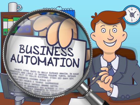 computerization: Business Automation on Paper in Businessmans Hand to Illustrate a Business Concept. Closeup View through Magnifier. Colored Doodle Illustration. Stock Photo