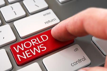 mondial: Finger Pressing a Modern Keyboard Button with World News Sign. Selective Focus on the World News Key. Man Finger Pressing World News Button on Modernized Keyboard. 3D Render.