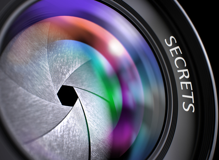 arcanum: Secrets Written on a Professional Photo Lens. Photographic Lens with Bright Colored Flares. Secrets Concept. Secrets - Concept on Lens of Camera, Closeup. 3D Render.