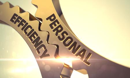 golden rule: Personal Efficiency Golden Metallic Gears. Personal Efficiency on Mechanism of Golden Gears with Glow Effect. Golden Gears with Personal Efficiency Concept. 3D.