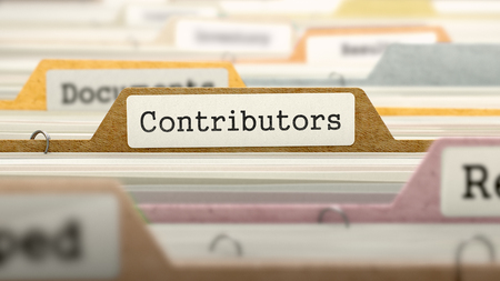 contributors: Contributors Concept on File Label in Multicolor Card Index. Closeup View. Selective Focus. 3D Render.