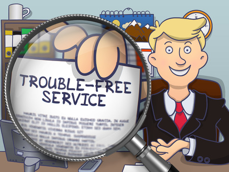 solidity: Trouble-Free Service through Magnifying Glass. Business Man Showing Paper with Concept. Closeup View. Multicolor Modern Line Illustration in Doodle Style.