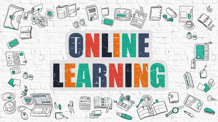 Online Learning - Multicolor Concept with Doodle Icons Around on White Brick Wall Background. Modern Illustration with Elements of Doodle Design Style.