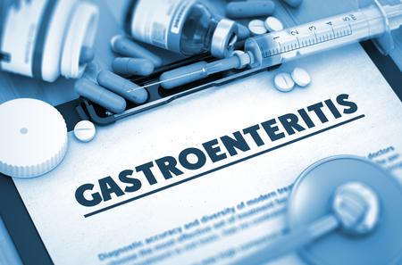 gastroenteritis: Gastroenteritis Diagnosis, Medical Concept. Composition of Medicaments. Gastroenteritis - Printed Diagnosis with Blurred Text. Gastroenteritis, Medical Concept with Selective Focus. 3D Render. Stock Photo