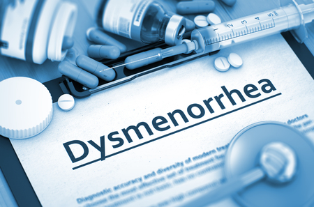 medicaments: Dysmenorrhea, Medical Concept with Pills, Injections and Syringe. Diagnosis - Dysmenorrhea On Background of Medicaments Composition - Pills, Injections and Syringe. 3D. Stock Photo