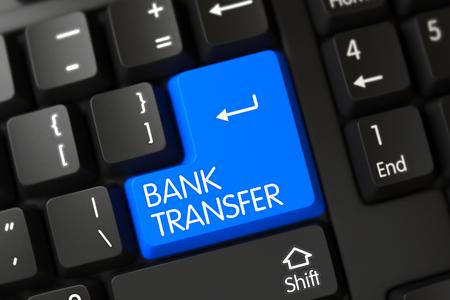 bank transfer: Blue Bank Transfer Keypad on Keyboard. Keypad Bank Transfer on PC Keyboard. Bank Transfer Written on a Large Blue Key of a Modern Laptop Keyboard. 3D Render.