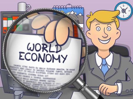relaciones laborales: Economía mundial a través de la lente. Mostrando officeman papel con el texto. Primer punto de vista. Ilustración multicolor del Doodle.