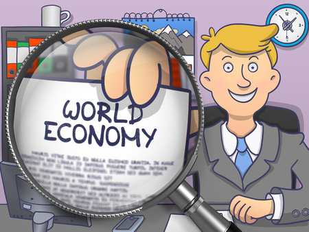 geopolitics: World Economy through Lens. Officeman Showing Paper with Text. Closeup View. Multicolor Doodle Illustration.