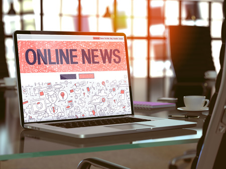 current events: Online News Concept. Closeup Landing Page on Laptop Screen in Doodle Design Style. On Background of Comfortable Working Place in Modern Office. Blurred, Toned Image. 3D Render.