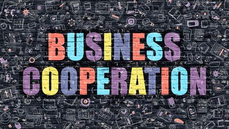 cooperation: Business Cooperation Concept. Business Cooperation Drawn on Dark Wall. Business Cooperation in Multicolor. Business Cooperation Concept. Modern Illustration in Doodle Design of Business Cooperation.