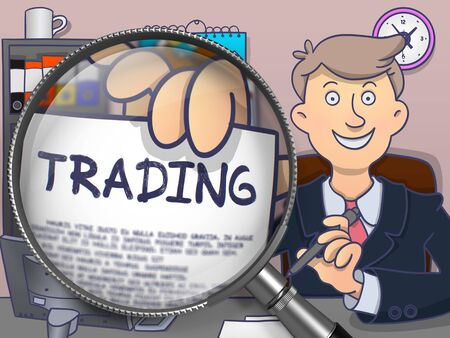 stock exchange brokers: Trading. Text on Paper in Mans Hand through Magnifying Glass. Multicolor Doodle Illustration.