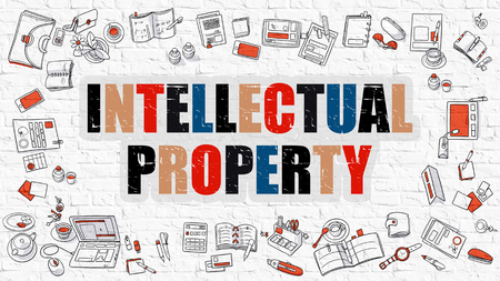 intellectual: Intellectual Property. Multicolor Inscription on White Brick Wall with Doodle Icons Around. Modern Style Illustration with Doodle Design Icons. Intellectual Property on White Brickwall Background.