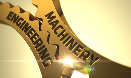 remedial: Machinery Engineering on Golden Cogwheels. Machinery Engineering on the Mechanism of Golden Metallic Cogwheels with Glow Effect. Machinery Engineering - Concept. 3D.