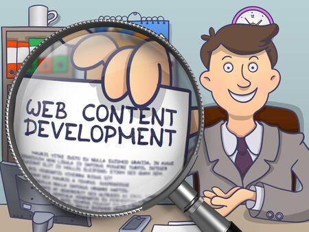 rewriting: Businessman Holds Out a Paper with Concept Web Content Development. Closeup View through Lens. Multicolor Doodle Illustration.