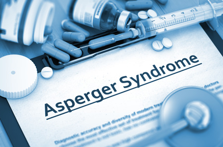 asperger syndrome: Asperger Syndrome Diagnosis, Medical Concept. Composition of Medicaments. Asperger Syndrome - Medical Report with Composition of Medicaments - Pills, Injections and Syringe. 3D Render.