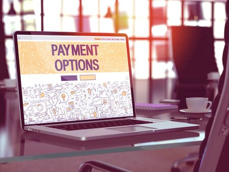 Payment Options Concept. Closeup Landing Page on Laptop Screen in Doodle Design Style. On Background of Comfortable Working Place in Modern Office. Blurred, Toned Image. 3D Render. Imagens - 55177508