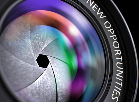reflex camera: New Opportunities Concept. Colored Lens Reflections Closeup on Lens of Reflex Camera with Inscription New Opportunities. New Opportunities on Lens of Digital Camera. Colorful Lens Flares. 3D.