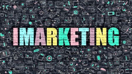 monetizing: Imarketing - Multicolor Concept on Dark Brick Wall Background with Doodle Icons Around. Modern Illustration with Elements of Doodle Design Style. Imarketing on Dark Wall. Imarketing Concept.