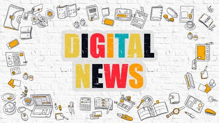 digital news: Digital News - Multicolor Concept with Doodle Icons Around on White Brick Wall Background. Modern Illustration with Elements of Doodle Design Style.