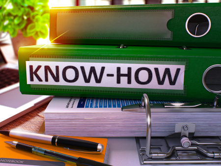 knowhow: Green Ring Binder with Inscription Know-How on Background of Working Table with Office Supplies and Laptop. Know-How - Toned Illustration. Know-How Business Concept on Blurred Background. 3D Render.