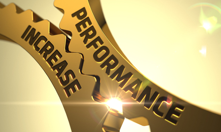 Performance Increase on Golden Metallic Cog Gears. Performance Increase - Technical Design. Performance Increase on Mechanism of Golden Cog Gears with Glow Effect. 3D Render.